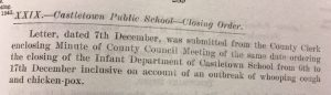 8 Dec Ed Cttee Canisbay school closed whooping cough
