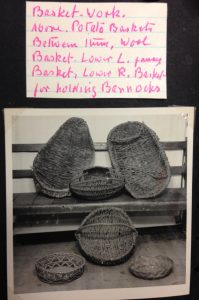 Archive material can help to resolve documentation queries, such as object names. This photo and label, from an I.F. Grant photo album (1940s), shows a selection of baskets from when the museum was based in Kingussie and confirms what the baskets were originally known as (so long as you can decipher the handwriting). Image copyright: Highland Folk Museum.