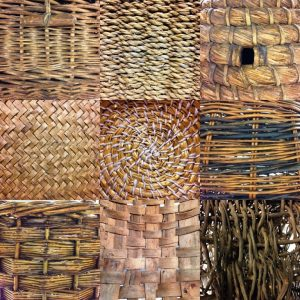 Top L-R: randing with different thickness weavers, woven marram grass, straw-coiling. Middle L-R: 'herringbone' pattern weave with rushes (?), coiled marram grass, randing with different coloured willow. Bottom L-R: slewing, split wood weaving, randing with heather