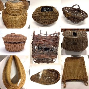 Top row, L-R: bee skep, wool mudag, basket with handle. Middle row, L-R: needlework basket, peat creel, angling basket. Bottom row, L-R: horse collar, line basket, grain bag.