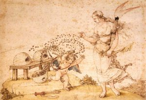 Skeps have been used for centuries. Here they feature in Albrecht Dürer's Cupid the Honey Thief – Pen and ink and watercolour on paper, 1514. Image credit: Web Gallery of Art
