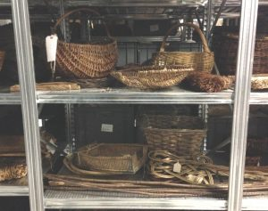 The basketry and straw-work shelving before our project started