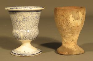 Blue and white china egg cup and Barvas Ware egg cup KIGHF.2017.030