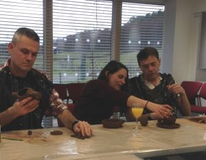 Hannes, Sarah and James getting to grips with the clay