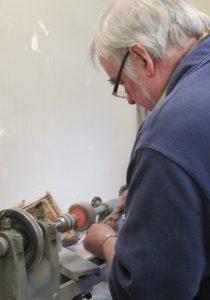 Bill using the machine polisher