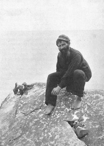 Finlay Gillies catching puffins using a snare. Photo taken from Kearton, R (1897) With Nature and a Camera. pg. 111.