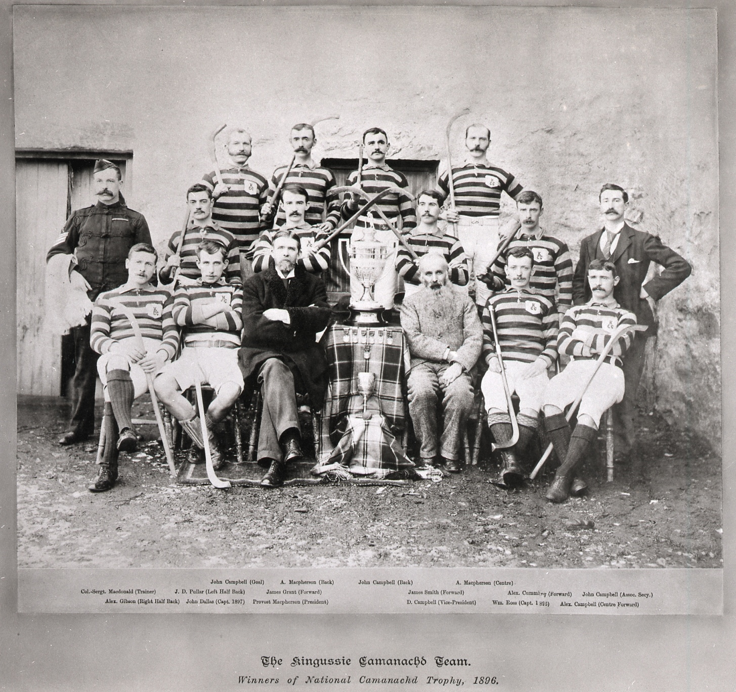 Kingussie team, winners of the first Camanachd Cup, 1896. The trophy was still being made in Edinburgh on the day of the final, so the team weren't presented with it until November of that year (4). Image credit: High Life Highland, Highland Folk Museum
