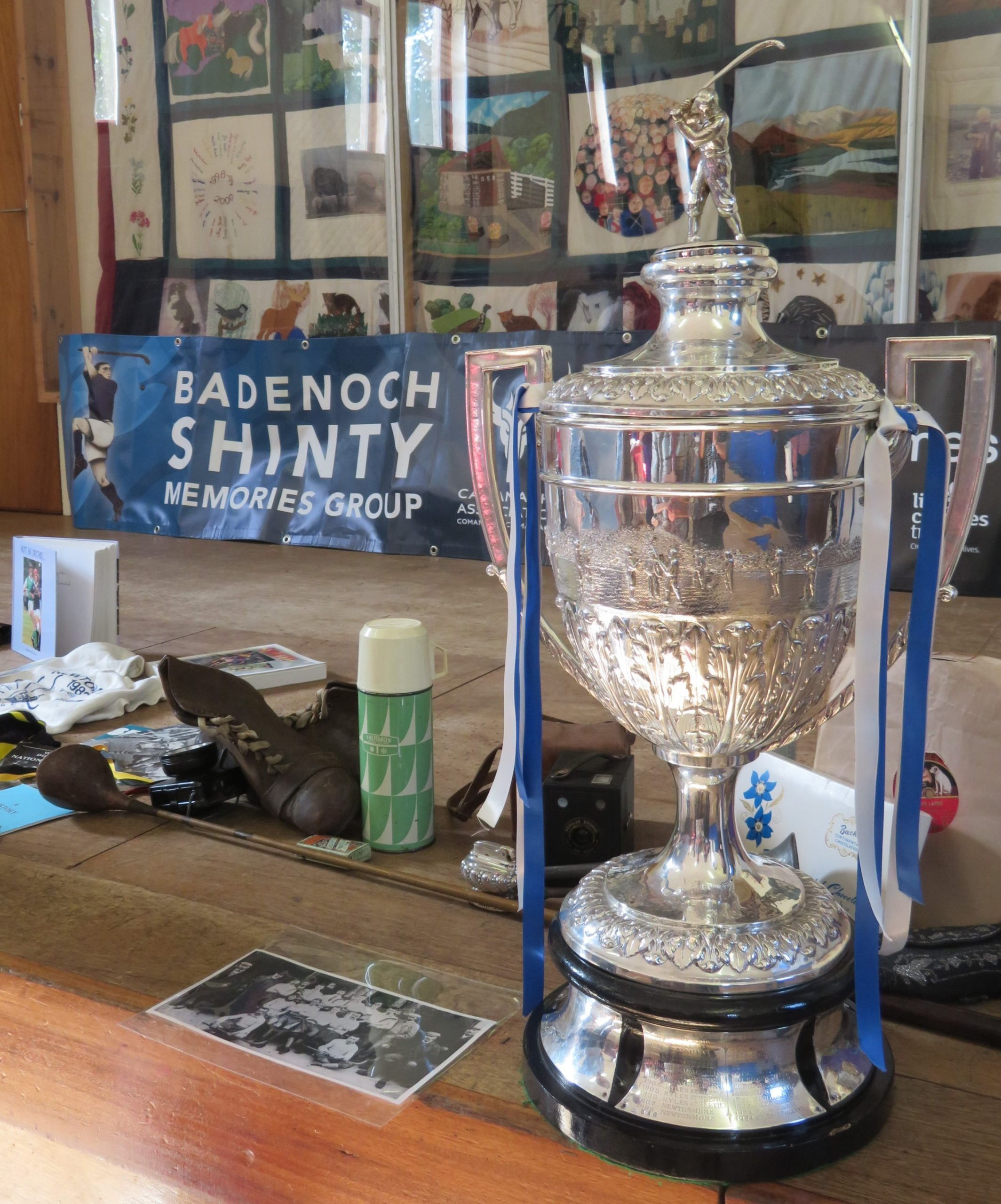 Camanachd Cup in Laggan Village Hall, September 2019. Image credit: Badenoch Shinty Memories Group