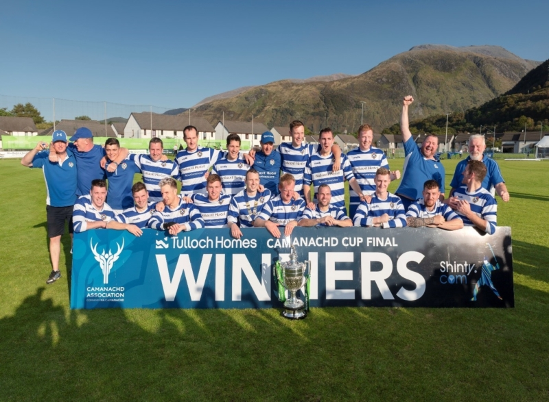 In the rescheduled game, Newtonmore beat Oban Camanachd to take the 2019 trophy. Image credit: Shinty.com