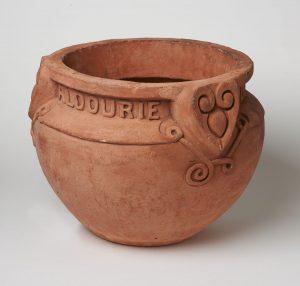 garden pot with Aldourie Pottery Dores inscription below rim
