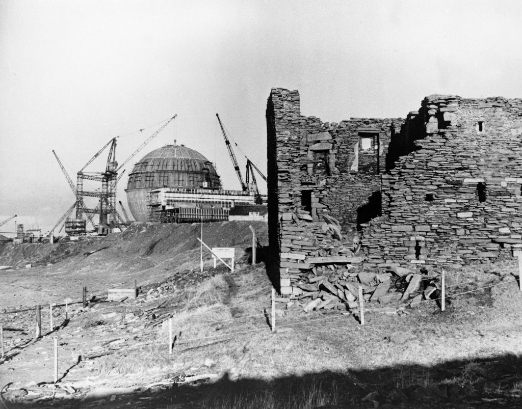 Photograph of old castle with Dounreay Sphere in the Distance 27th February, 1957