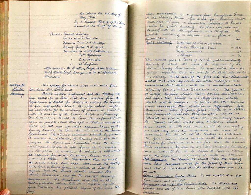 Burgh of Thurso Minutes 6th May, 1954