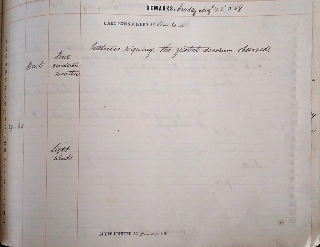 Harbour Master Log Book entry for the 28th of August, 1859