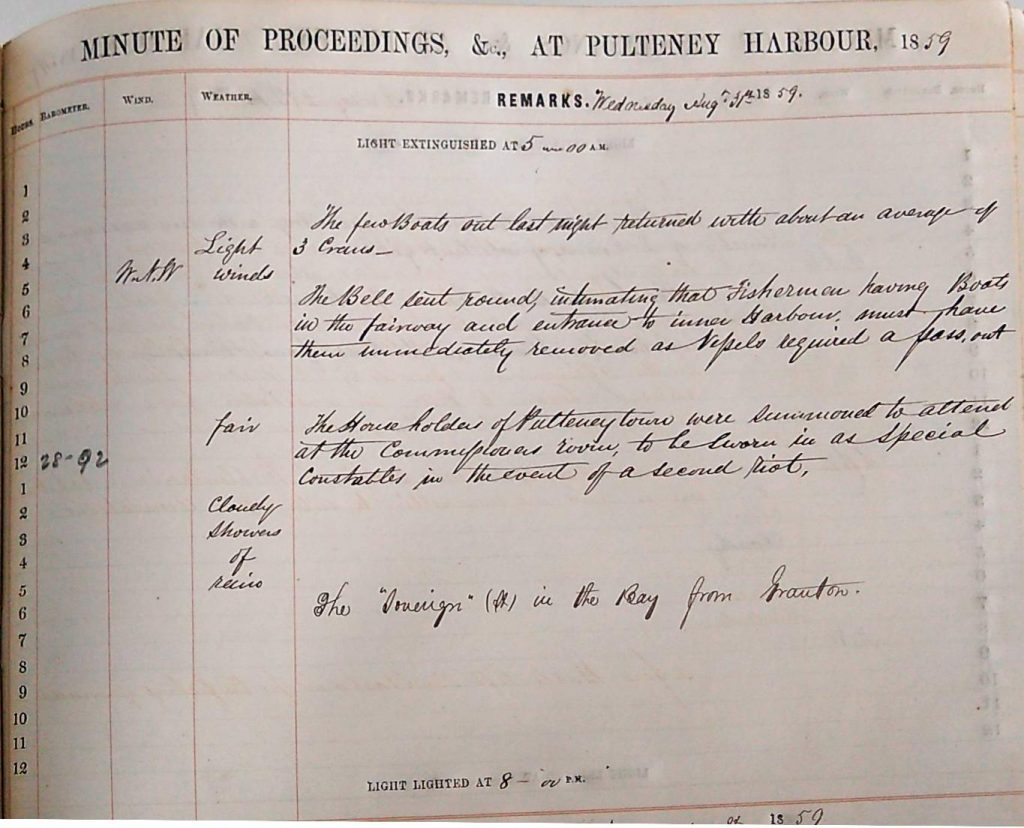 Harbour Master Log Book entry for the 31st of August, 1859