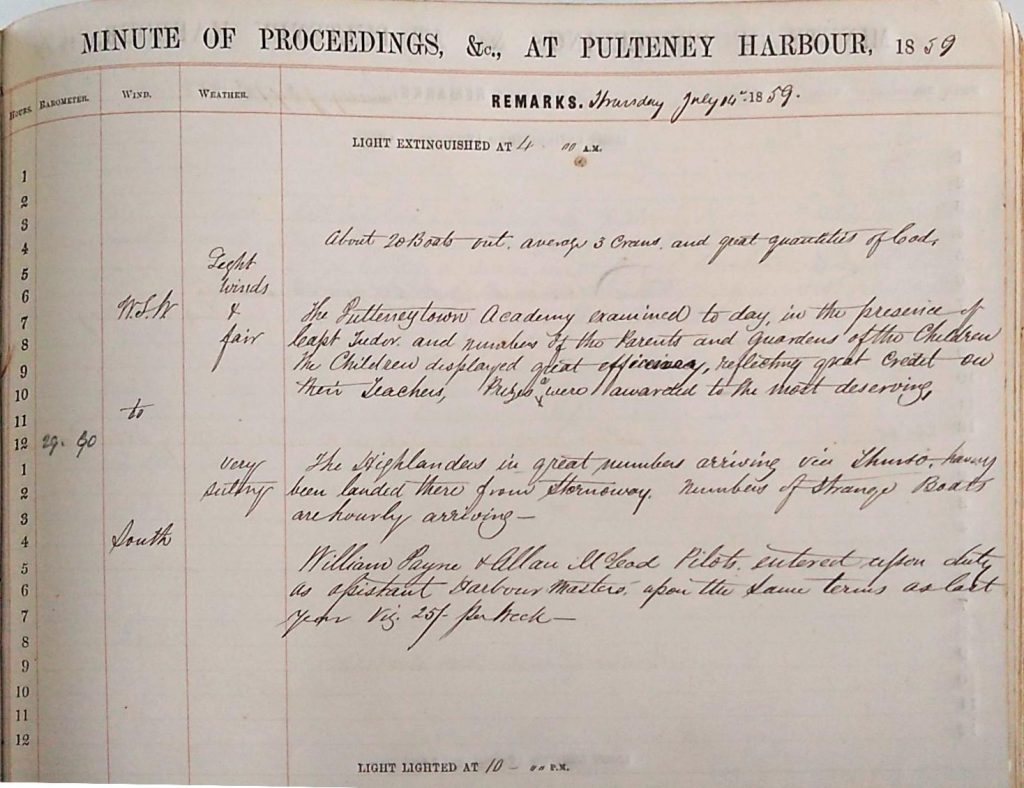 Harbour Master Log Book entry for the 14th of July, 1859