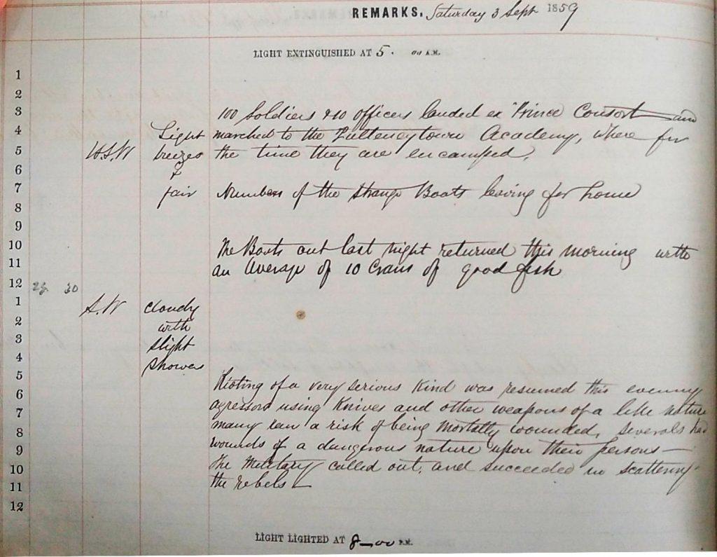Harbour Master Log Book entry for the 3rd of September, 1859
