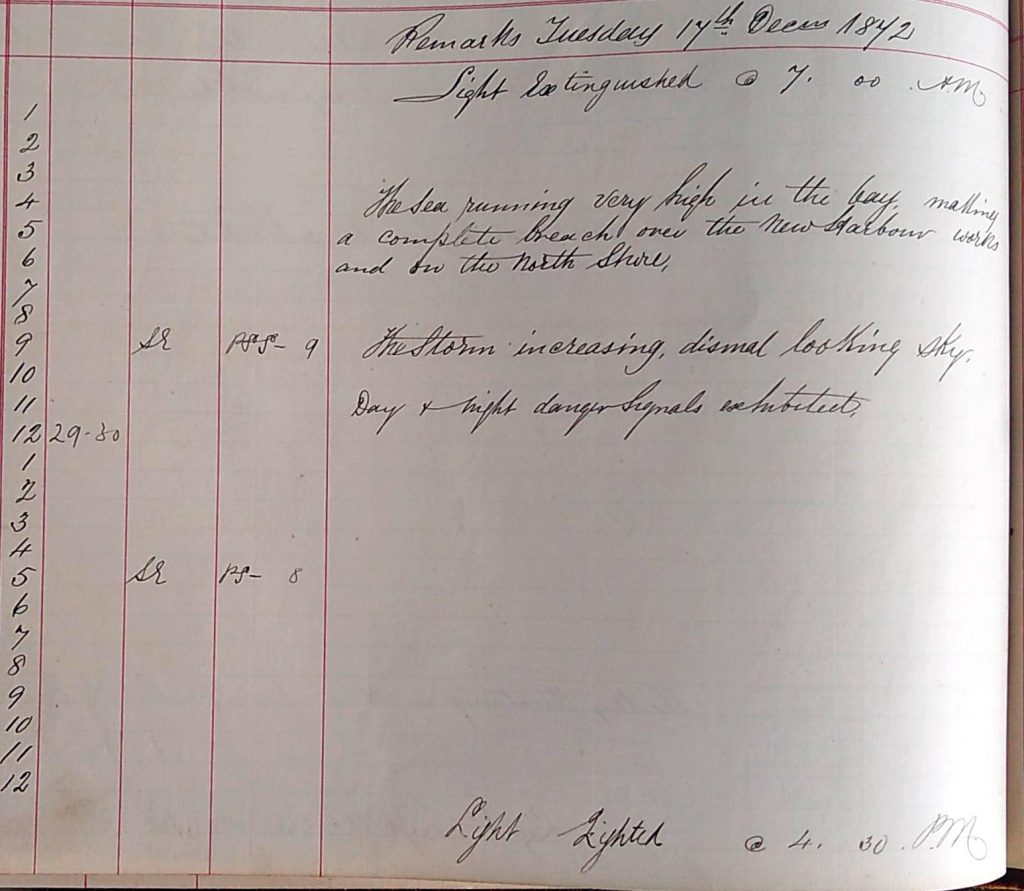 Harbour Master Log Book entry for the 17th of December, 1872