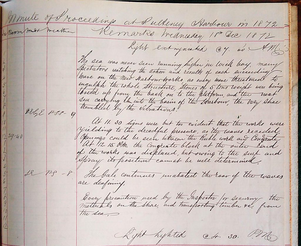 Harbour Master Log Book entry for the 18th of December, 1872