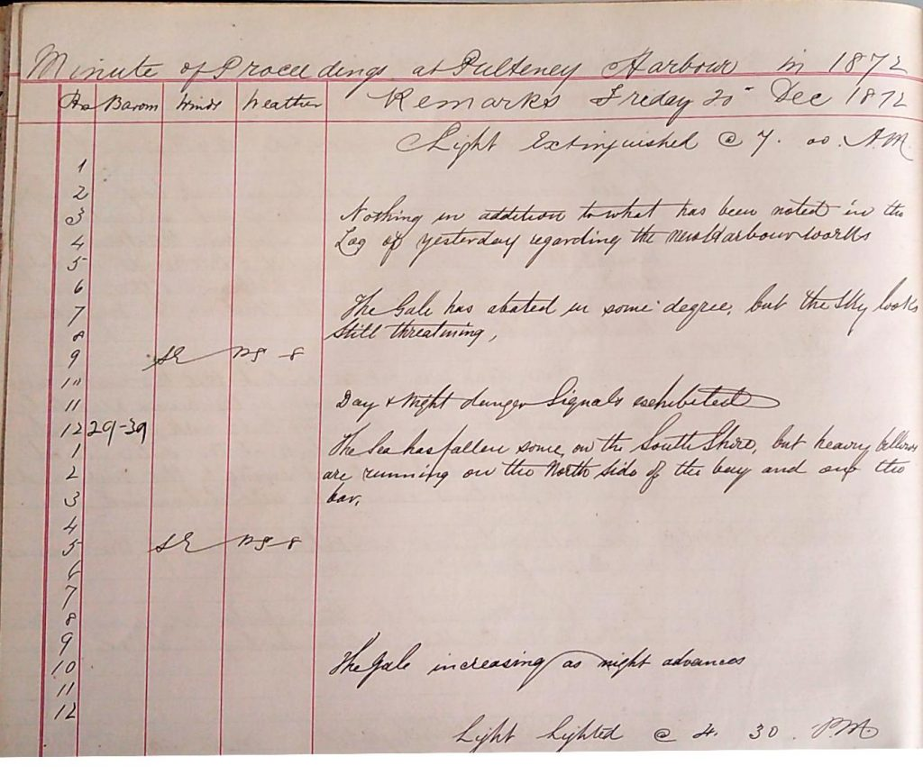 Harbour Master Log Book entry for the 20th of December, 1872