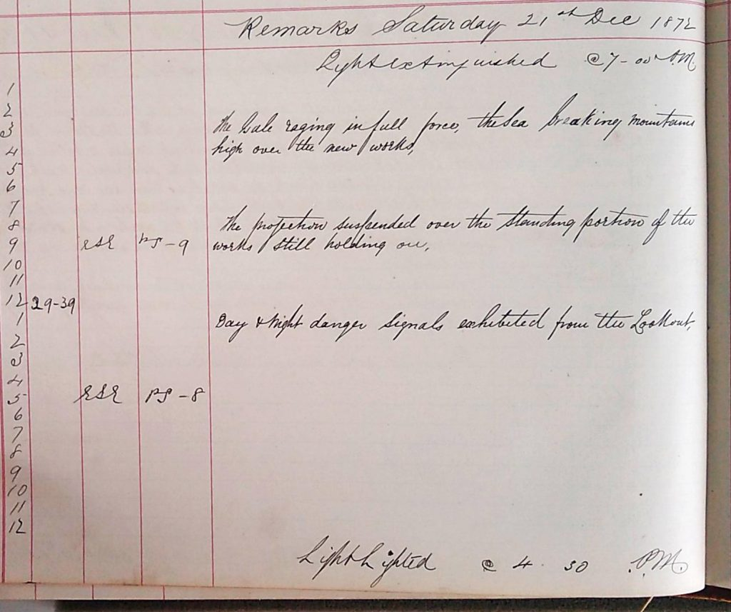 Harbour Master Log Book entry for the 21st of December, 1872