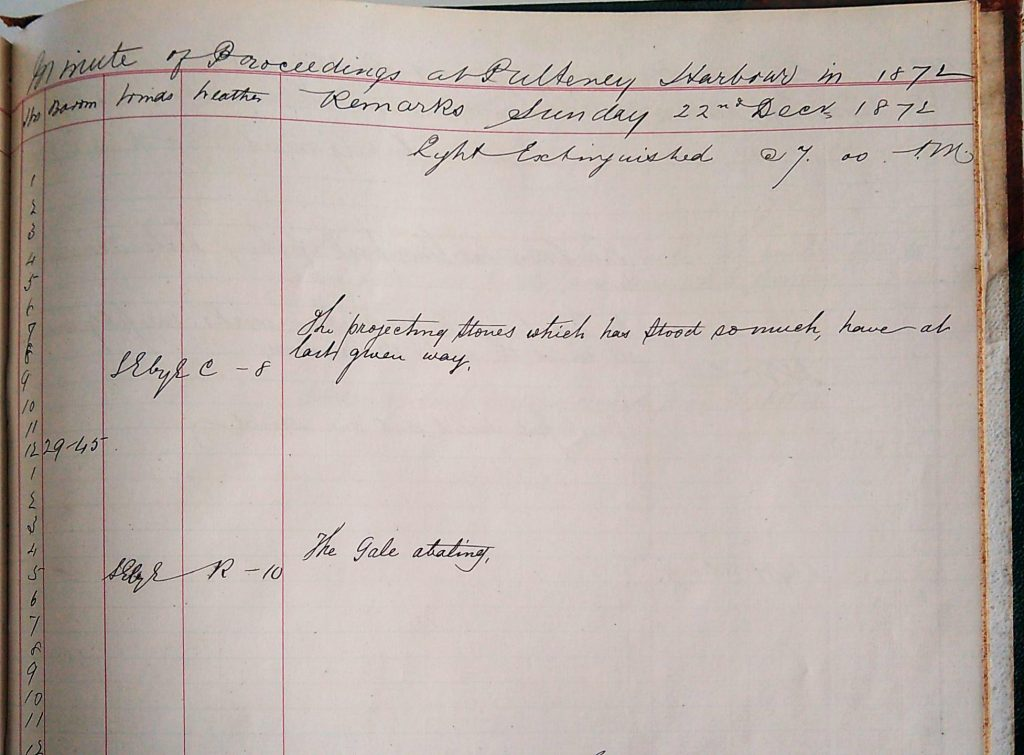 Harbour Master Log Book entry for the 22nd of December, 1872