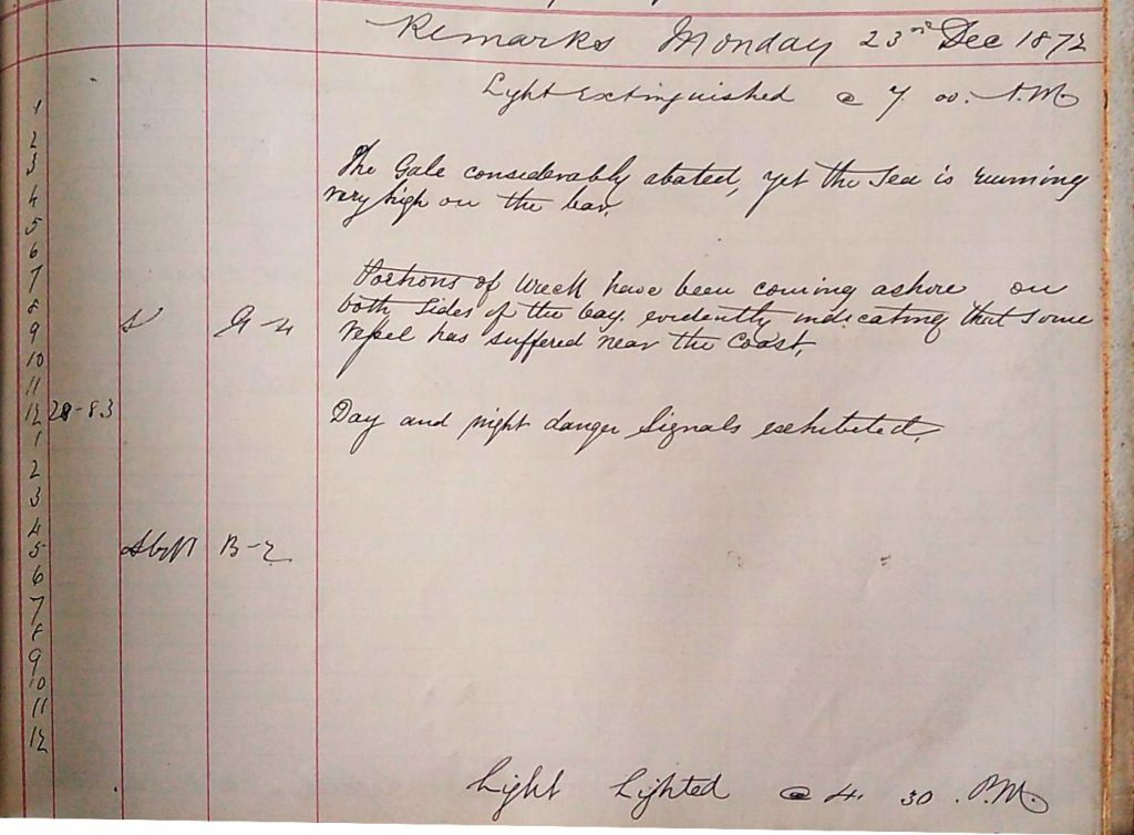 Harbour Master Log Book entry for the 23rd of December, 1872