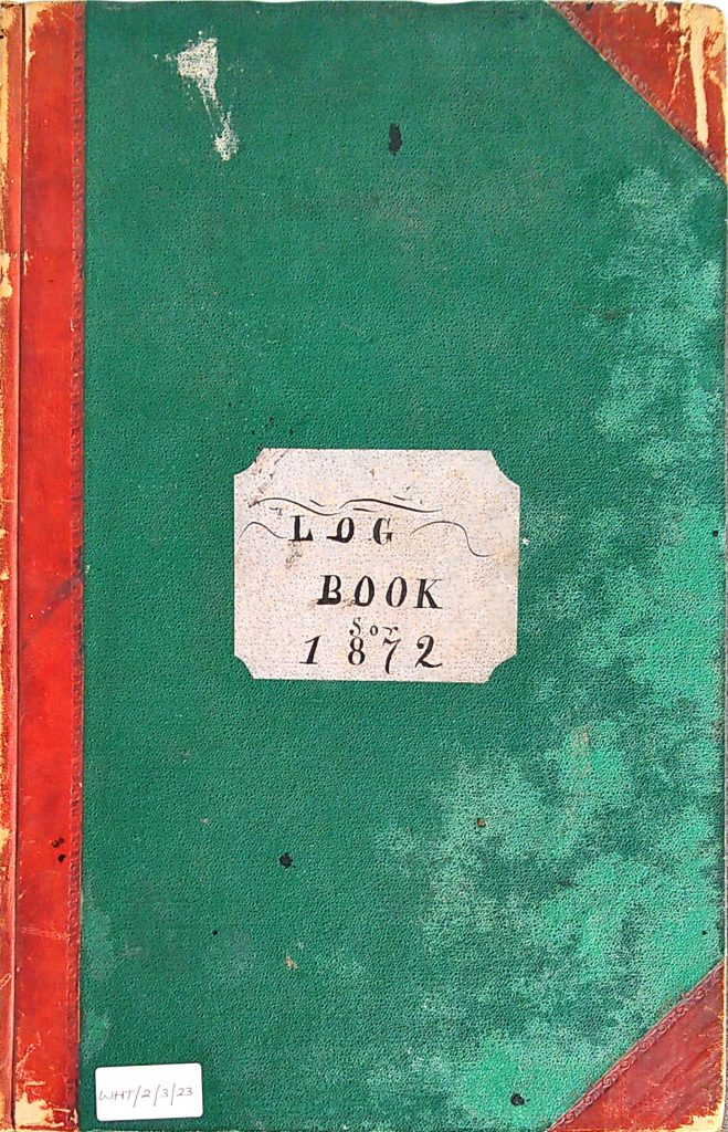 Front cover of Harbour Master Log Book 1872