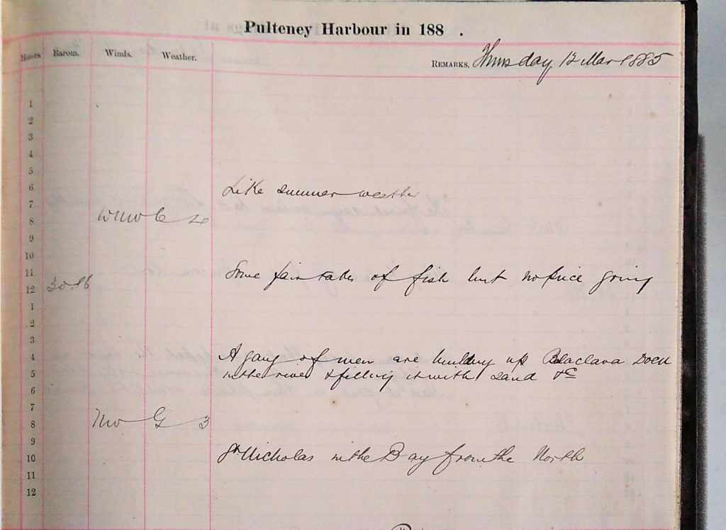 Harbour Master Log Book entry for the 12th of March, 1885