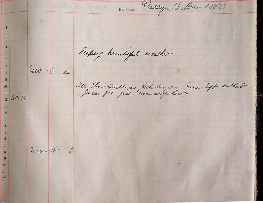 Harbour Master Log Book entry for the 13th of March, 1885