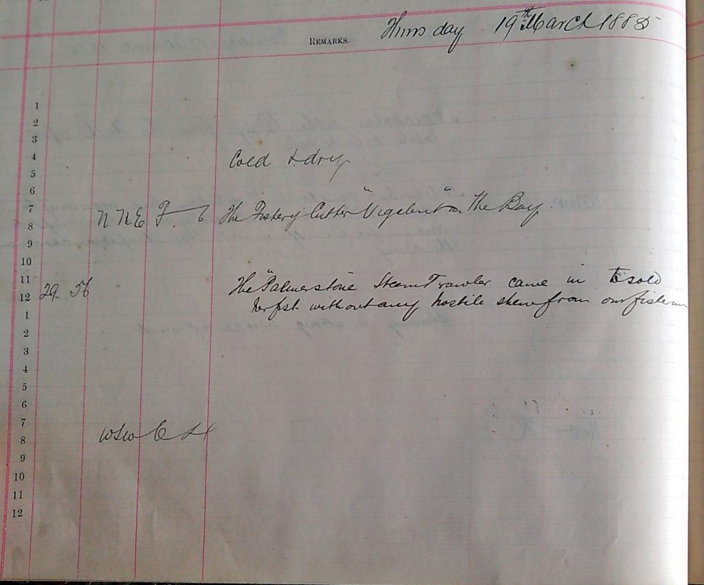 Harbour Master Log Book entry for the 19th of March, 1885