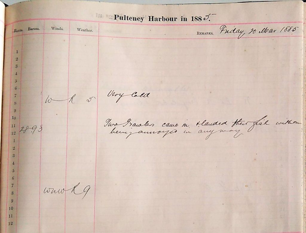 Harbour Master Log Book entry for the 20th of March, 1885