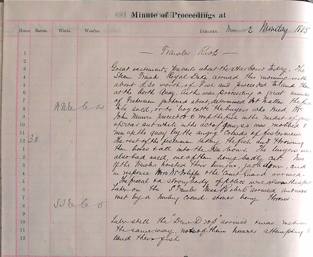 Harbour Master Log Book entry for the 2nd of March, 1885