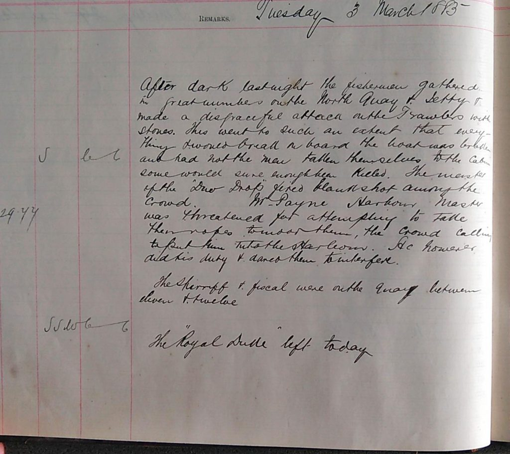 Harbour Master Log Book entry for the 3rd of March, 1885