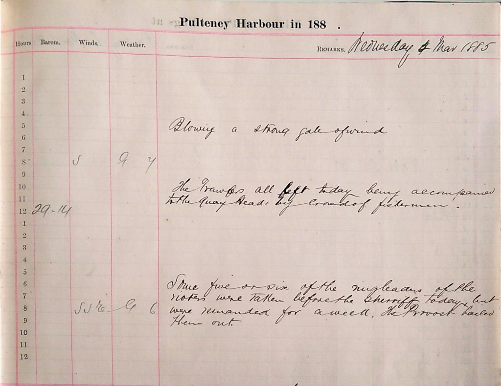 Harbour Master Log Book entry for the 4th of March, 1885