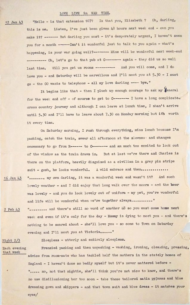 Love Life in War Time, page 1. (Ref: MUN/1/15)