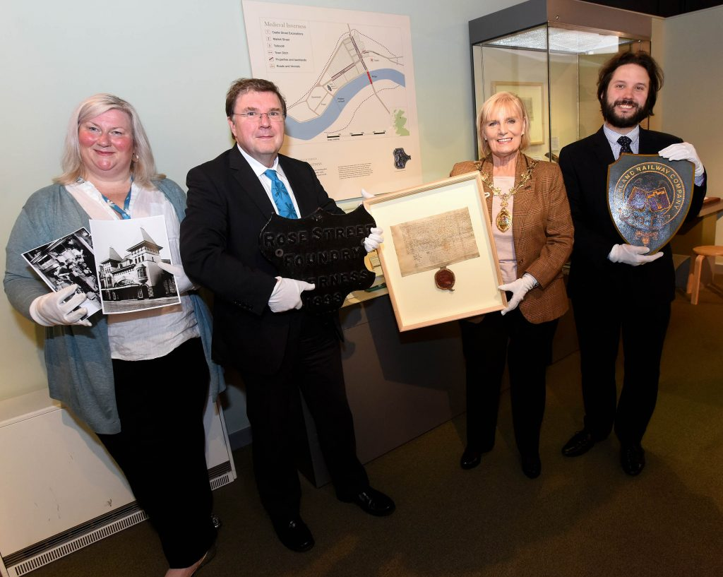 Inverness Museum App. (l to r) Cait McCullagh, Graham Watson, Provost Helen Carmichael and Cllr Richard Laird. Pic - Phil Downie