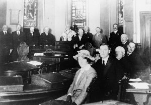 The British Cabinet meeting in Inverness Town House, Chamber. Image courtesy of the Cook Collection, Inverness Museum & Art Gallery.